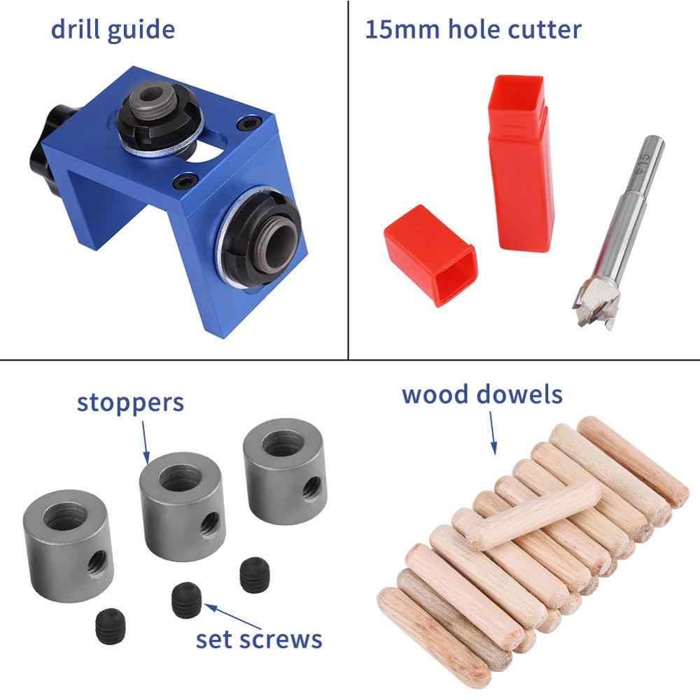 Guide de localisateur de forage pour le travail du bois Guide de forage de trou de cheville en bois Kit de foret de gabarit outil de positionneur de menuiserie pour le travail du bois