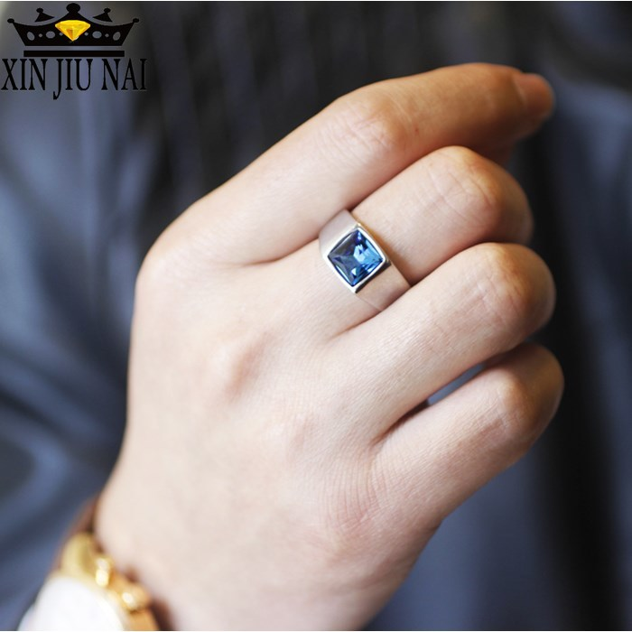 European And American Topaz Blue Crystal Engagement Rings Atmospheric Fashion Blue Zircon Inlay Ring Men's 925 Anillos Silver