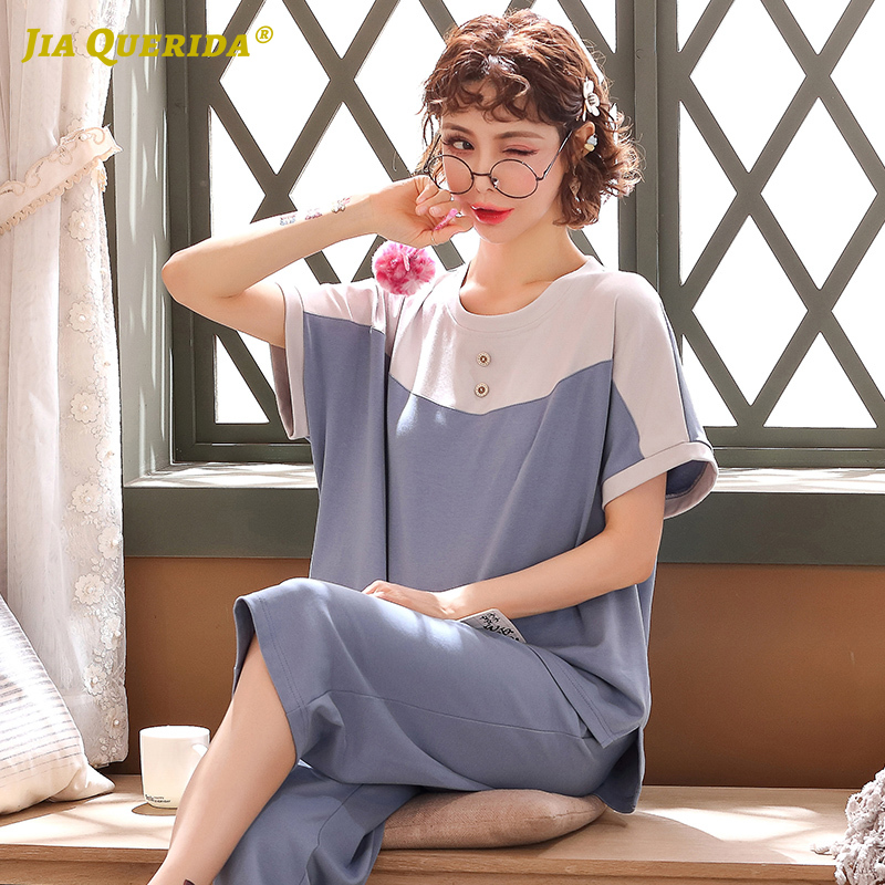 New Solid Woman Clothes Short Sleeve Capris Crew Neck Patchwork Cute Blue Fashion Style Summer Ladies Blue Pajamas Set Pj Set
