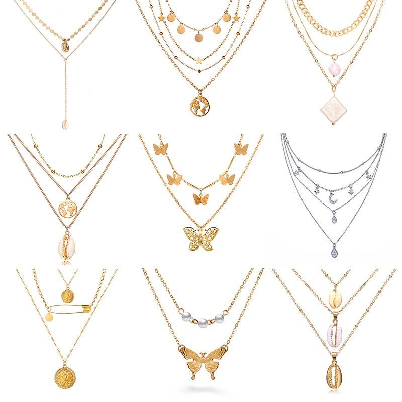 Женское ожерелье с подвеской в виде бабочки 17 км, модное Золотое многослойное ожерелье чокер с Луной, богемное ювелирное изделие 2020 Ожерелья с подвеской      АлиЭкспресс