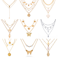 17KM New Butterfly Pendant Necklaces For Women Fashion Moon Charm Gold Multilayer Choker Necklace 2020 Bohemian Jewelry cheap Zinc Alloy TRENDY Link Chain Metal Animal All Compatible Party Mood Tracker Show the picture Girls s Women s Party Wedding Birthday Anniversary Christmas Gift Daily Wearing
