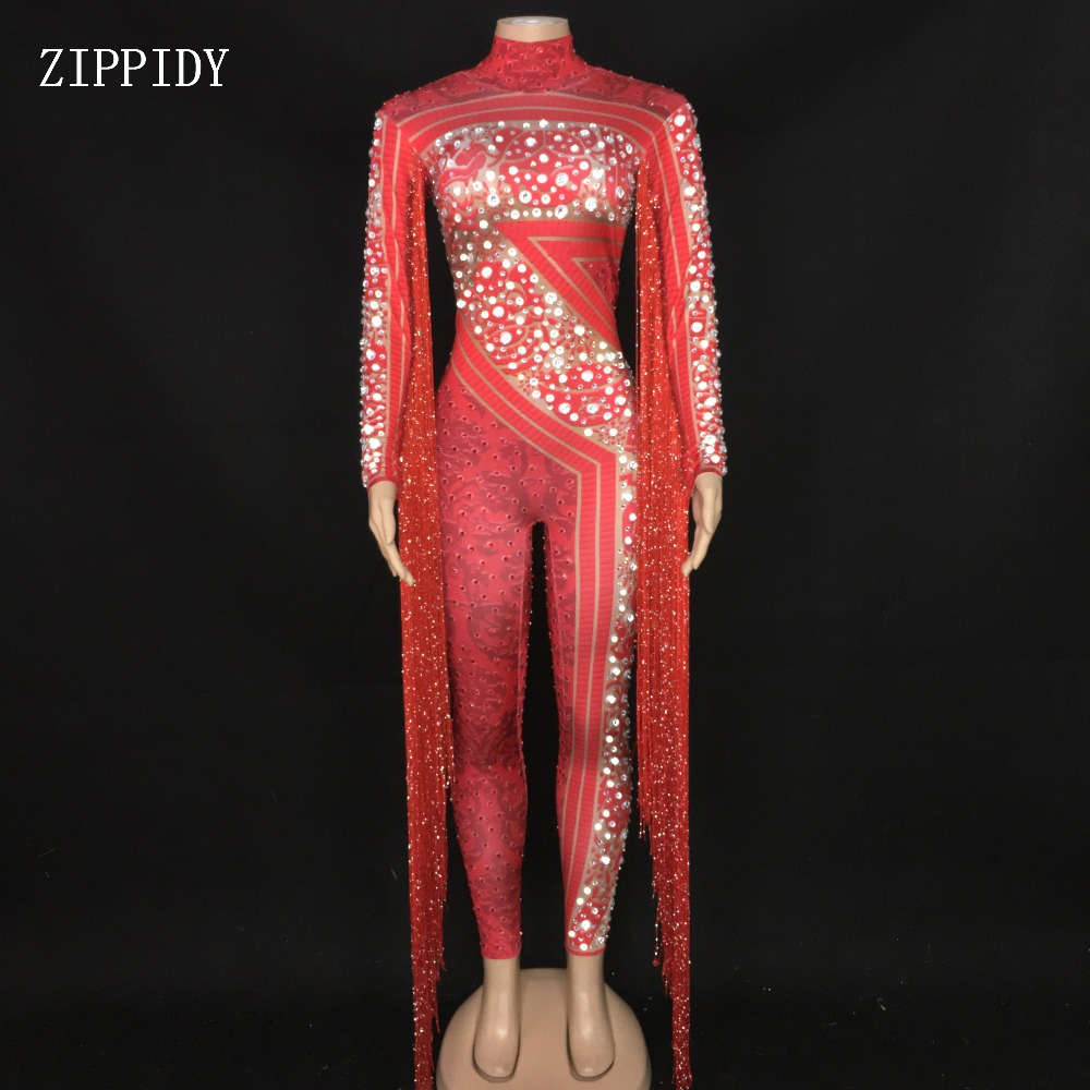 Red Tassel Printed Rhinestones Jumpsuit Birthday Prom Celebrate Fringes Bodysuit DJ Female Singer Dancer Stage Wear
