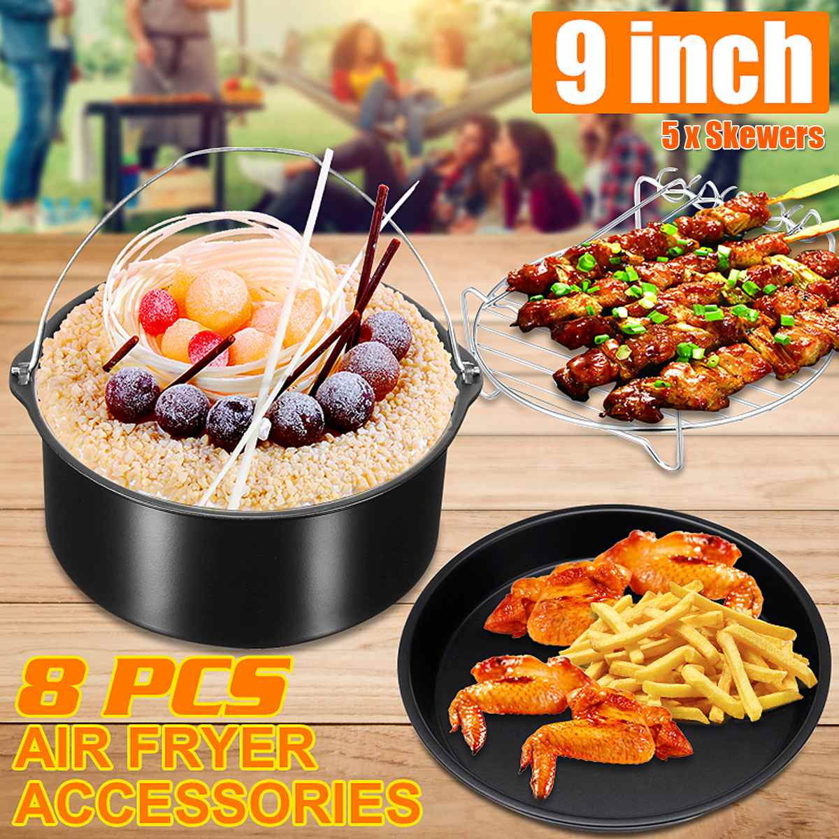 8pcs Air Fryer Accessories 9 Inch Fit For Airfryer 5.2-6.8QT Baking Basket Pizza Plate Grill Pot Kitchen Cooking Tool For Party