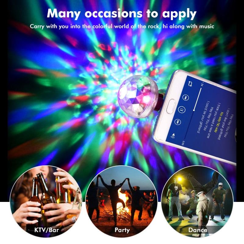 Usb Disco Ball RGB LED Light Stage Small Magic Ball Light Colorful Magic Bulbs Auto Rotating Stage Light DJ Club Party LED Bulb