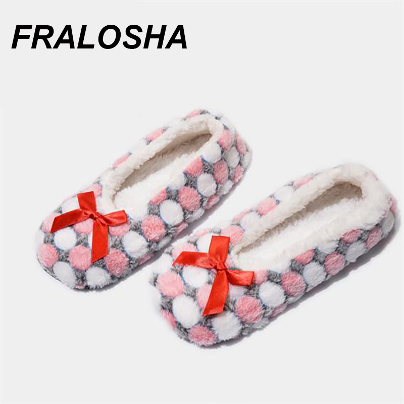 FRALOSHA Warm At Home Woman Slippers Cotton Shoes Plush Female Floor Shoes Non-slip Indoor Bow Tie Dots Shoes Woman Home Slipper