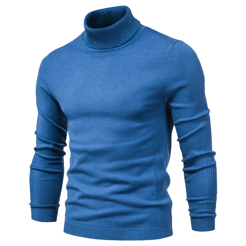 Pullover Men Sweaters Turtleneck Warm Winter Casual Slim Thick New Solid Quality
