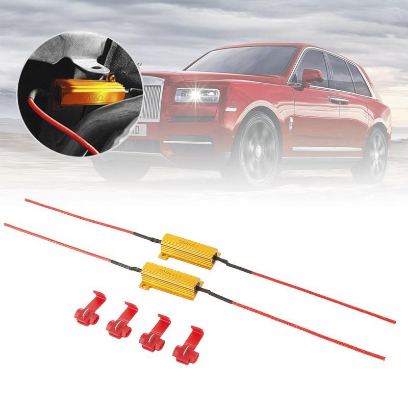 2PCS 50W LED di Avvertimento A LED resistenza di carico di decodifica Reverse Freno Luce di Segnale di Girata Fix Errore di Flash Veloce auto accessori