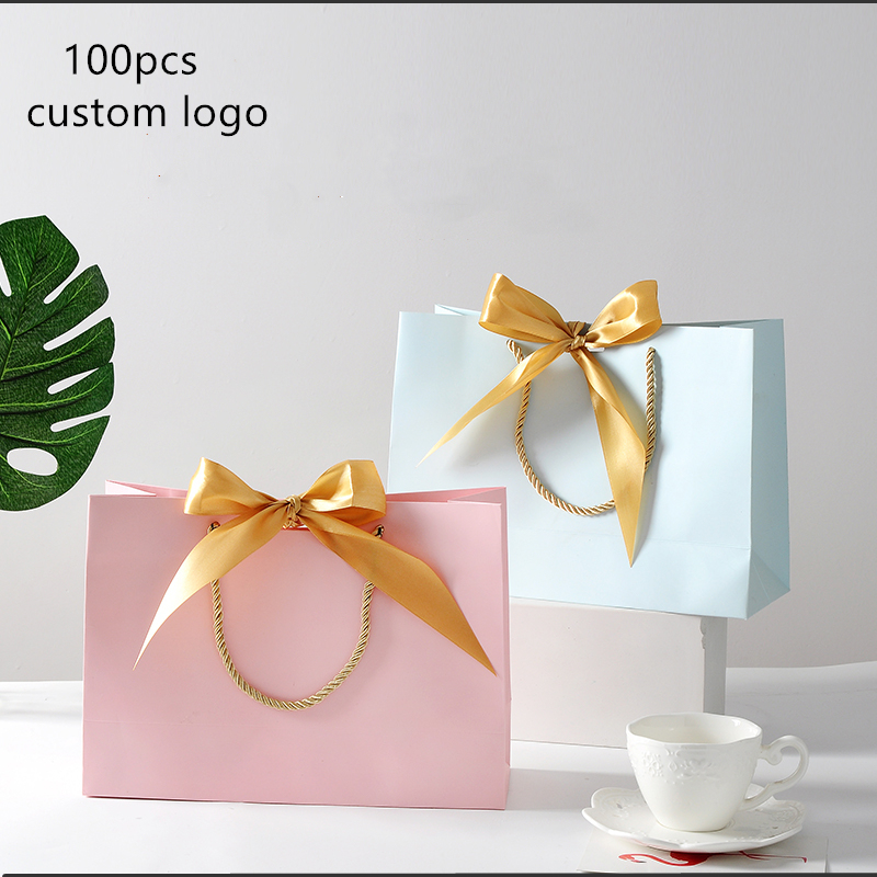 100pcs Customized logo gift bag Gold Present Box For Wedding Box Bags Clothes Books Packaging Gold Handle   Kraft Paper Gift Bag