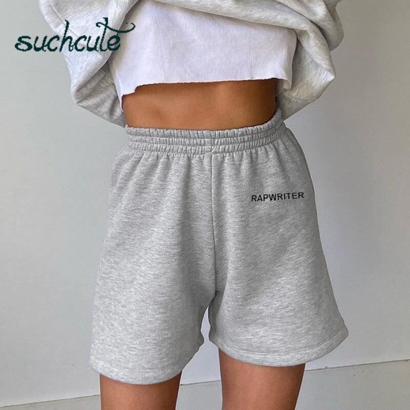 SUCHCUTE Women's Shorts Sweatpants Casual Sporty Biker Short Cotton Soft Summer 2020 Streetwear High Waist Homemade Clothes