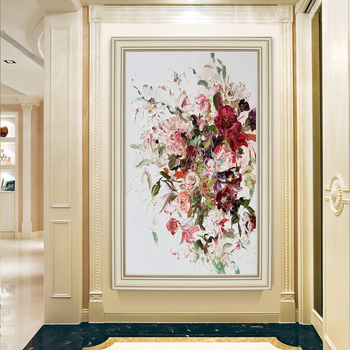 American-style hand-painted Oil Paintings Entrance Vertical Version Of The Peony Flower Decorative Painting Decorative Painting