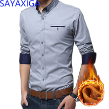 2019 New arrival winter warm fleece shirt for men business leisure casual blouse turn down collar long sleeves slim fit tops 5XL