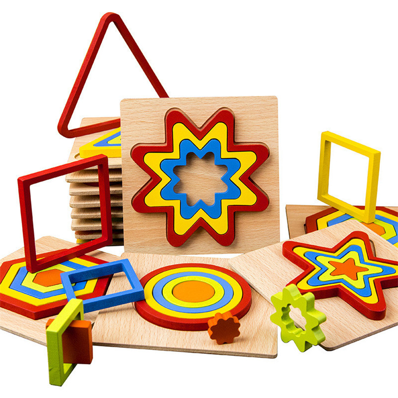 DIY Creative 3D Wooden Puzzle Geometric Shape Puzzle Intelligence Develop Montessori Educational Toys For Children Kids #30D03