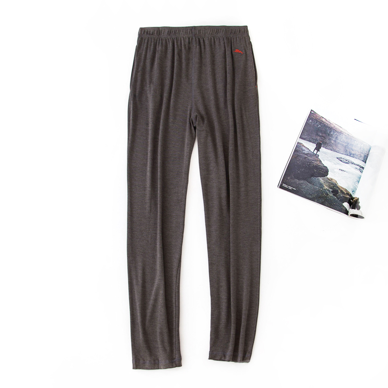 High Elasticity Casual Sleepwear Pants Men Pure Color Sleep Bottoms Simple Pijamas Home Trousers Sheer Mens Pants Plus Size