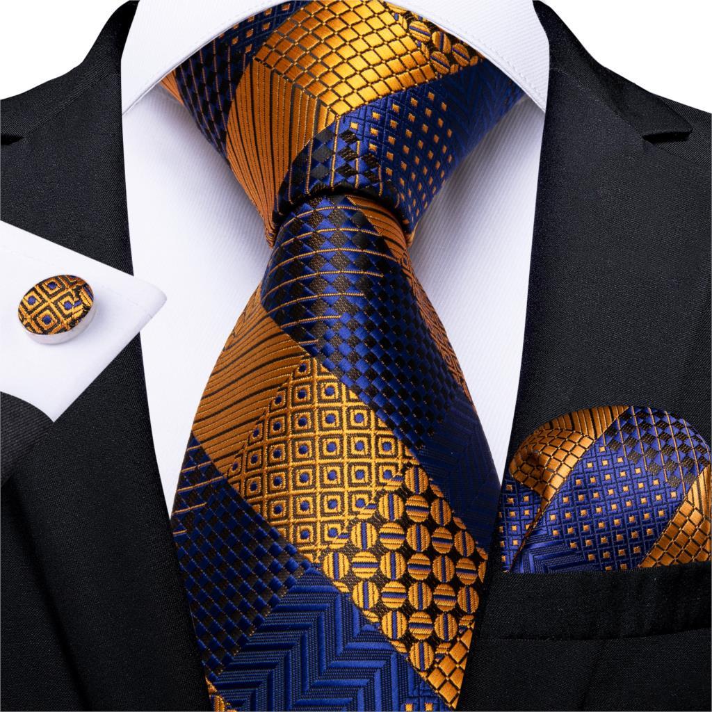 Fashion Striped Tie For Men Gold Blue Silk Wedding Tie Hanky Cufflink Gift Tie Set DiBanGu Novelty Design Business Party MJ-7329