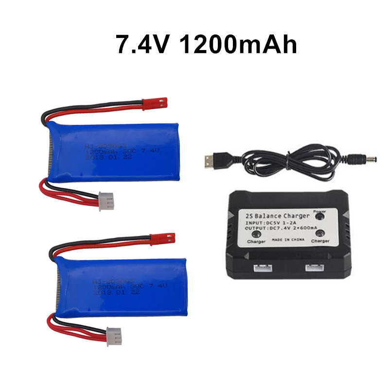 7.4v 1200mAh Lipo Battery with EU charger For YiZhan X6 MJX X101 X102h X1Brushless H16 WLtoys V353 V333 V323 V666 V262 RC Parts