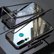 YonLinTan Coque cover Case For Huawei Nova 4 4e Nova4 Nova4e Metal magnetic Frame Hard tempered glass Back Covers