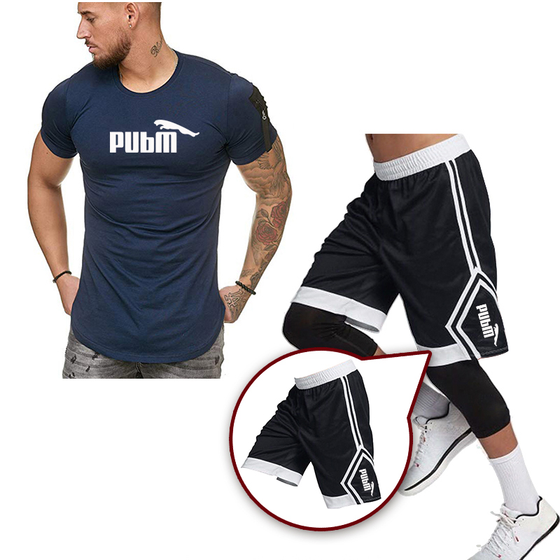 Tracksuit Men 2020 Men Clothing Sportswear Set Fitness Summer Casual Men T Shirt + Shorts Men's Suit 2 Pieces Sets Plus Size 3XL