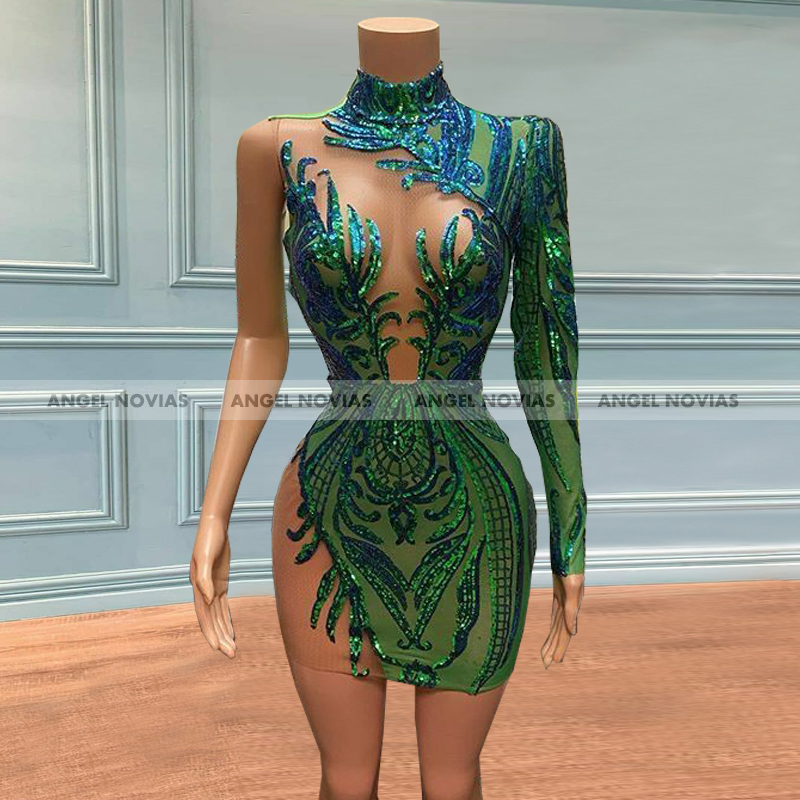 ANGEL NOVIAS Long Sleeves Green Sexy Lace Prom Dresses 2021 Mini High Neck African Black Girl Party Graduation Dress