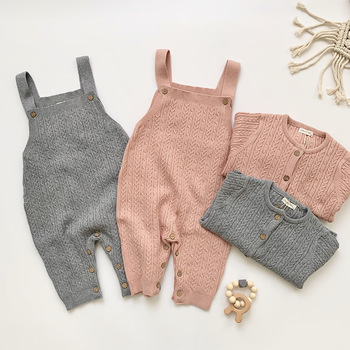Knitted Overalls and Sweater Set