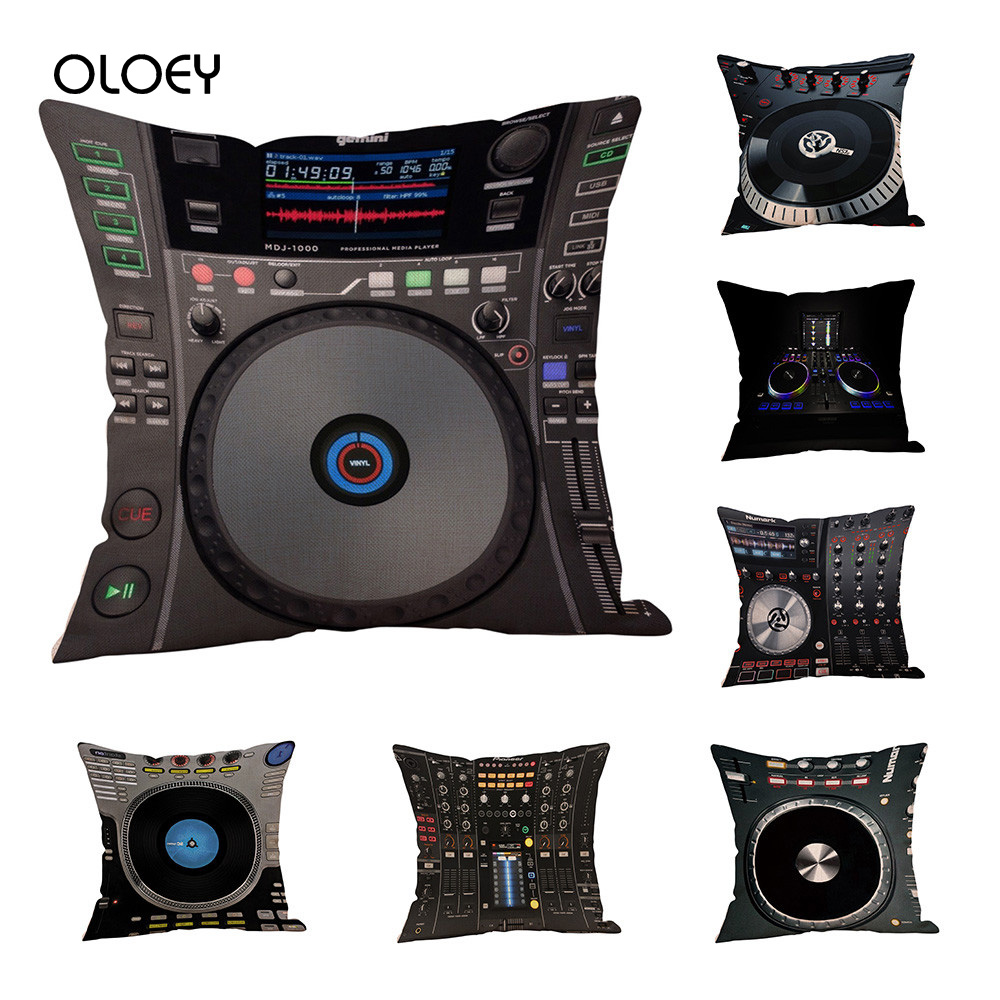 Unique DJ MUSIC Polyester Cushion Cover Home Bedroom Hotel Bed Car Seat Decorative Pillow Case Soft And Comfortable 45x45cm   ..