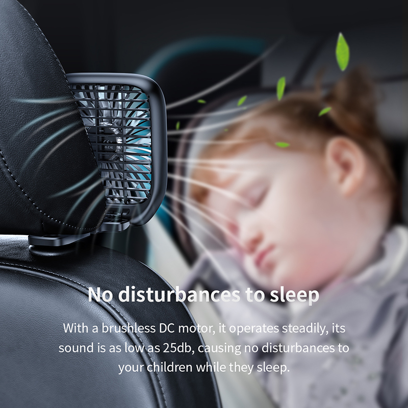 Baseus Car Fan Cooler Foldable Silent Fan For Car Backseat Air Condition 3 Speed Adjustable Mini USB Fan Desk Fan Auto Cooling 4
