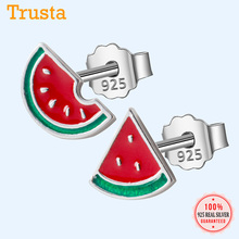 Trusta 100% 925 Real Sterling Silver Jewelry Fashion Tiny Asymmetric Summer Watermelon Stud Earrings For Daughter Girls DS572