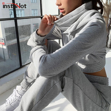 InstaHot Grey Cotton Two Piece Sets Women Winter Autumn Drawstring Hooded and Elastci Pants Turtleneck Crop Top Casual Trackduit instahot grey tracksuit reflective flash side zip buckle women two piece set autumn crop top cargo pants casual streetwear sets