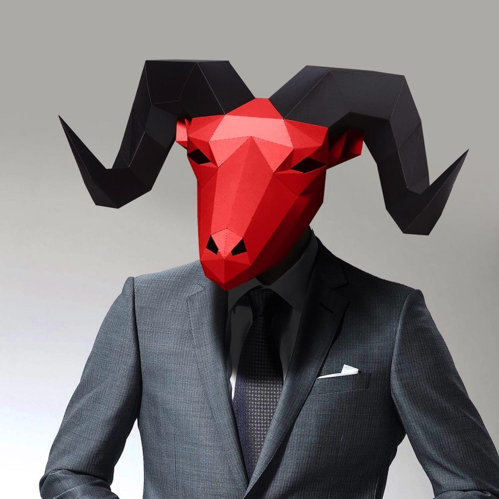 3D Paper Mask Fashion Goat Animal Costume Cosplay DIY Paper Craft Model Mask Christmas Halloween Prom Party Gift
