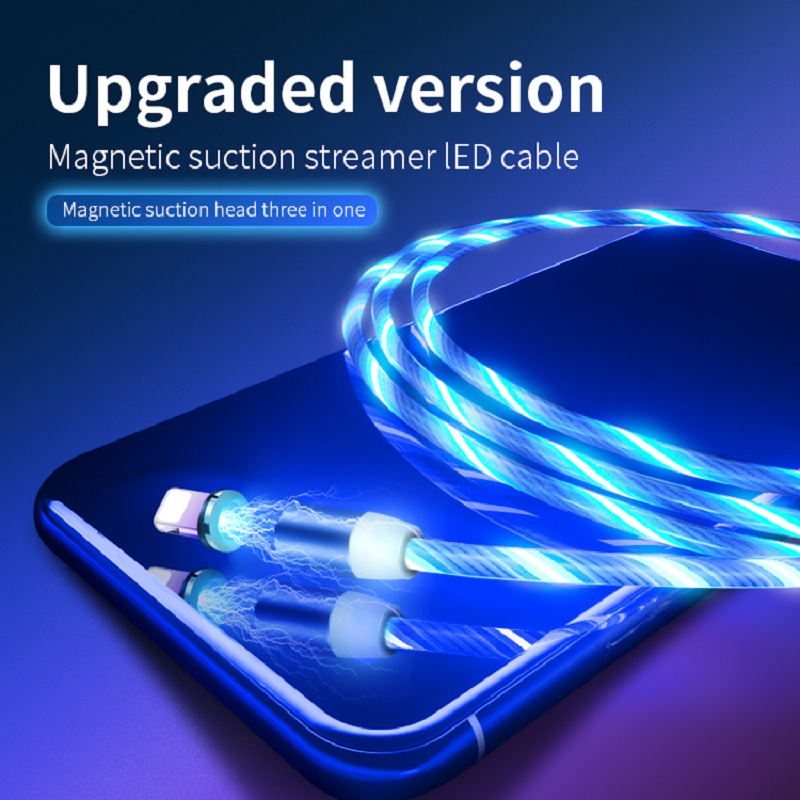 Magnetic Type C Charging Cable Flowing Glow USB Cable For iPhone XS Max XR X LED USB