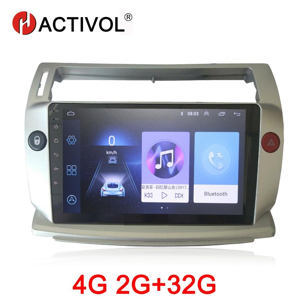 Hactivol 2g + 32g android 9.1 rádio do carro para citroen c4 c-triomphe c-quatre 2004-2009 carro dvd player acessório do carro 4g multimídia