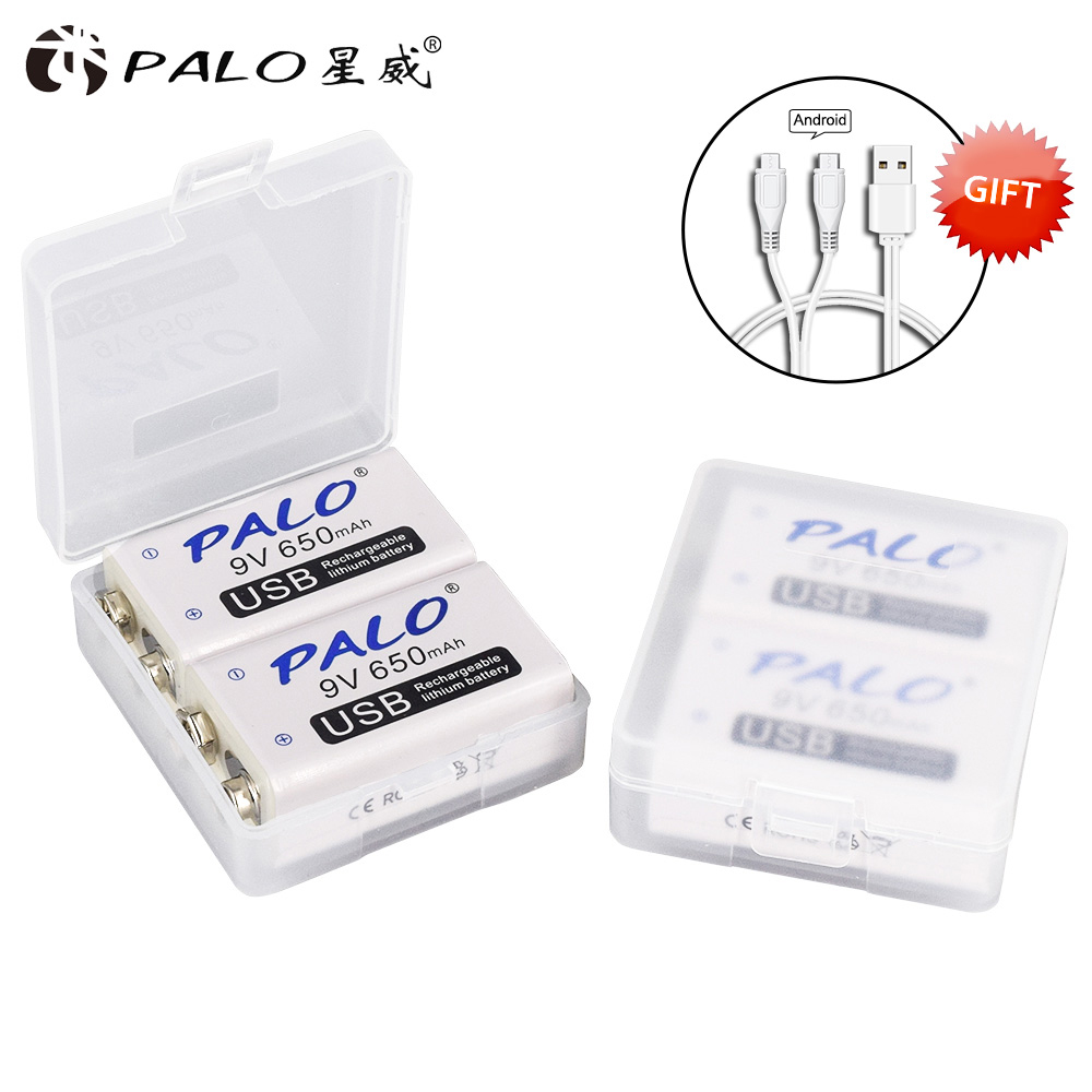 PALO 9V USB Lithium-Batterie 650mAh 6F22 6LR61 Li-Ion Akku für spielzeug massagegeräte multimeter gitarre mit USB kabel