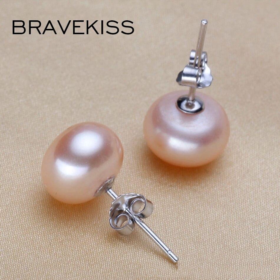 BRAVEKISS Natural Freshwater Pearl Earrings 925 Sterling Silver Stud Earrings For Women Elegant Stud Pink Simple Jewelry BAE0003