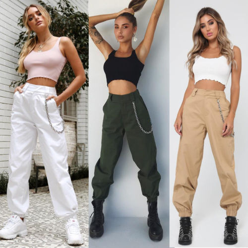 Women Solid Arm Green Cool High Waist Harem Pants Elastic Waist Trousers Casual Cool Chain Sport Pant 4 Colors