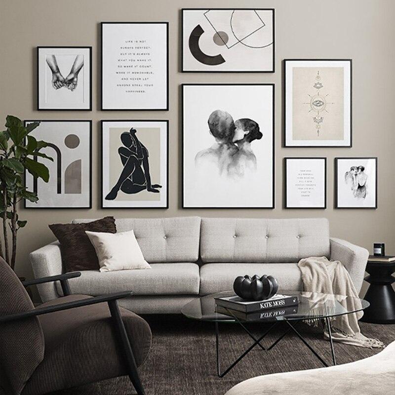Modern soyut resim posteri ev dekor Nordic tuval boyama Minimalist siyah ve beyaz duvar sanat baskı resmi yatak odası için
