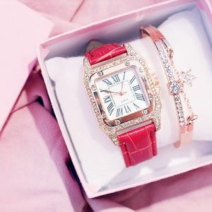 Image 4 - Moda kadın izle deri kayış saatler lüks bayanlar kuvars saatı zarif kadın elmas İzle saat Relogios Femininos