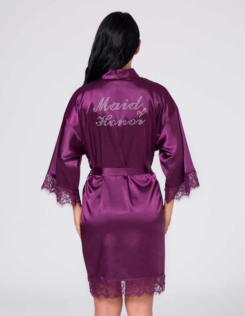 Gaun Pengantin Custom Hot Pengeboran Perak Huruf Pagi Gaun Ibu dari Pengantin Wanita Dekorasi Renda Jahitan Sutra Piyama Pernikahan Jubah