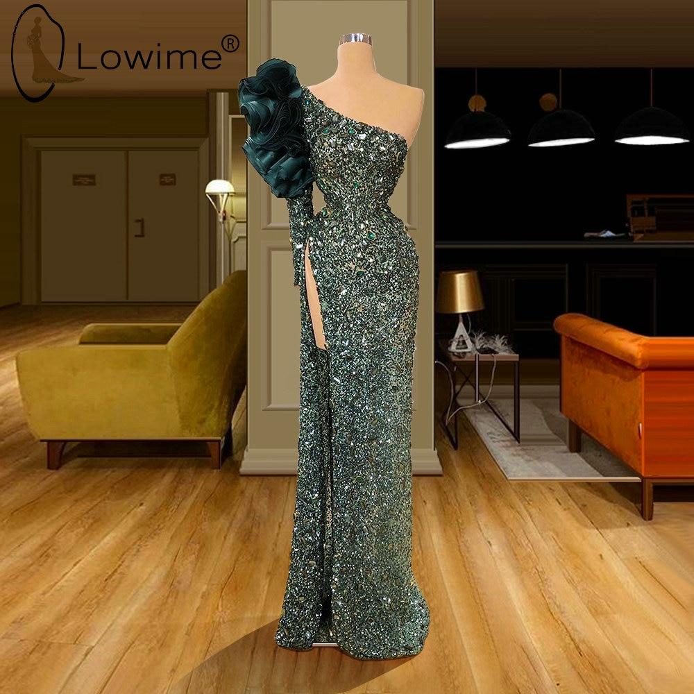 Drak Green One Shoulder Mermmaid Evening Dresses Ruffles Arabic Style Side Split Floor Length Sequined Formal Dress