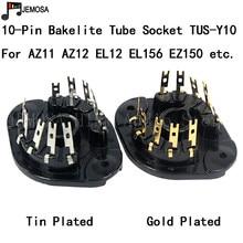 10PCS Bakelite Tube Socket TUS Y10 10Pins Socket Audio DIY Amplifier For EL12 EL156 ECL11 AZ11 AZ12 EZ150 Free Shipping