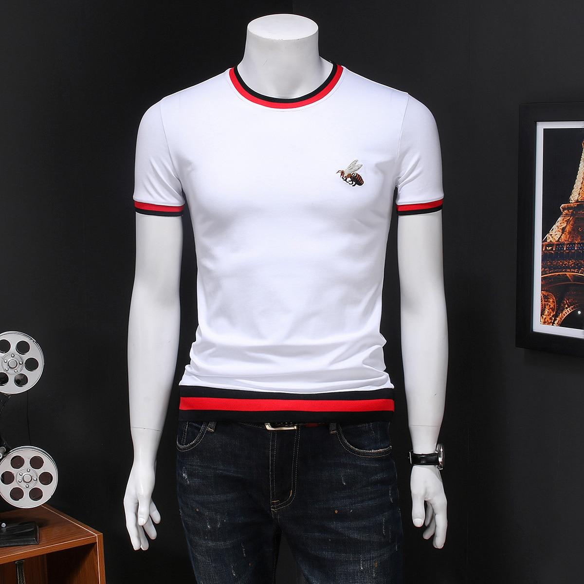 Brand 2020 Short Sleeve Men T-Shirt  Korean Summer T Shirt Men Slim Fit Casual Tee Shirt Homme Round Neck Embroidery Male Tide