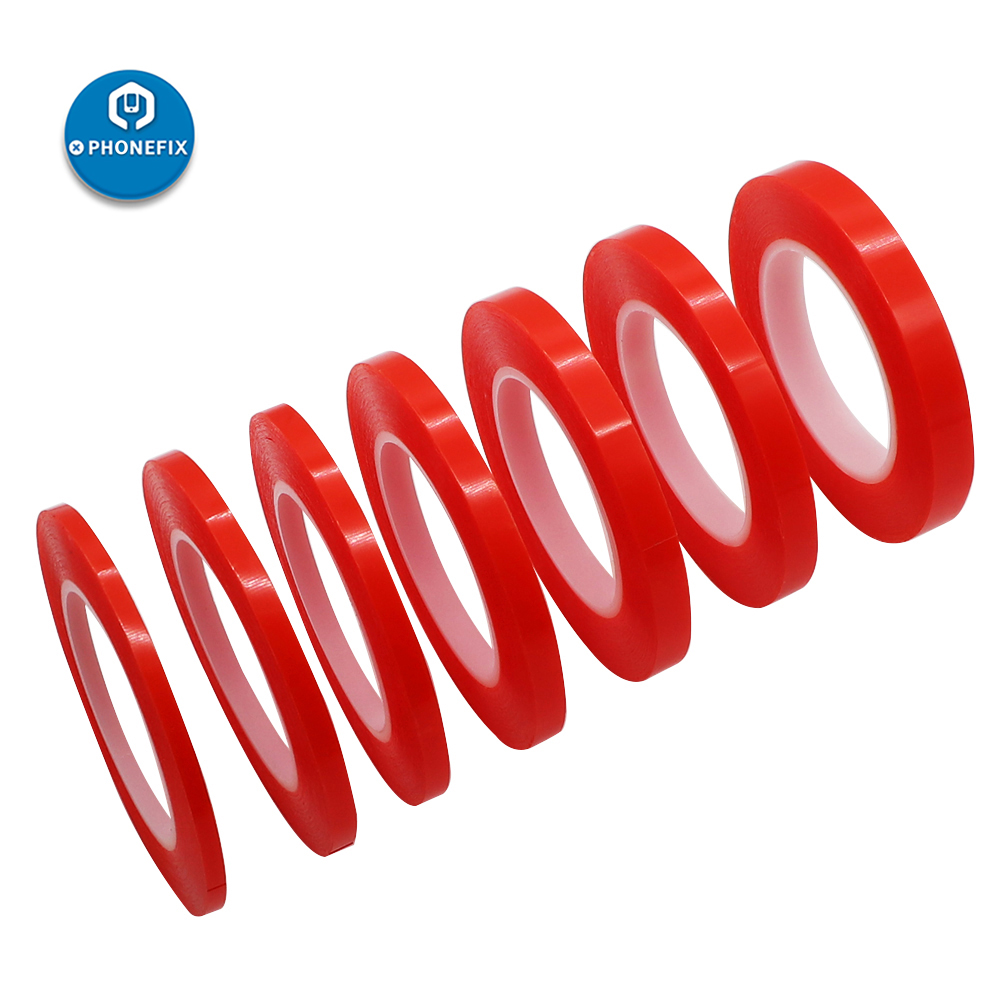 Adhesive Double Sided Tape 2 / 4 / 6 / 8mm/10mm*25M Acrylic PET Red Film Clear Adhesive For Screen Repair Kit Opening Tools