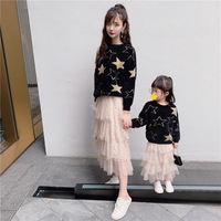 Mother and Daughter Clothes Autumn Casual Star Print Sweater New Arrival Family Matching Outfits High Quality Knitting Sweaters