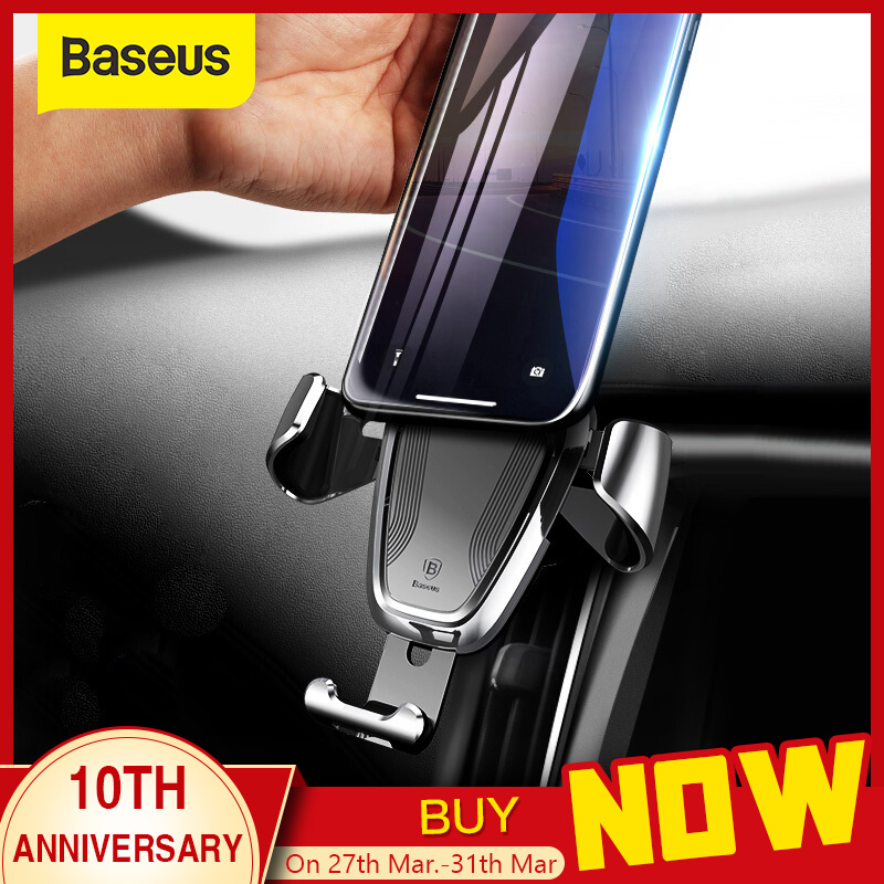 Baseus Gravity Car Holder For iPhone Samsung Mobiltelefon Holder 360 grader GPS Air Vent Mount Clip Car Phone Holder Stand