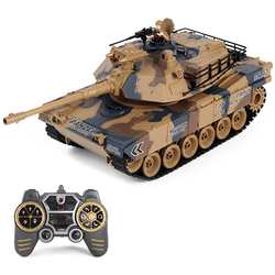 LCF 1:18 2.4G American M1A2 Military Tank Model RC Battle Tank Toy With Smoke Sound Light Effect Remote Control Toys Kids Gift