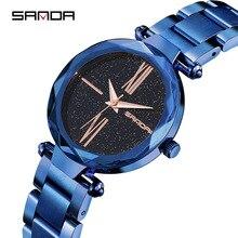 Новый женщин часы корейской версии водонепроницаемый кварцевые женские часы звездное небо фиолетовый стали ремень мода тенденция часы роскошные часы