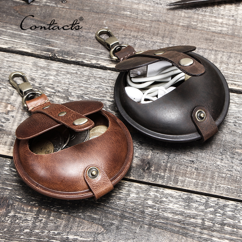 CONTACT'S 100% Crazy Horse Leather Men Wallets Small Money Bags Mini Coin Purse Pocket Vintage Male Portfolio For Earphone