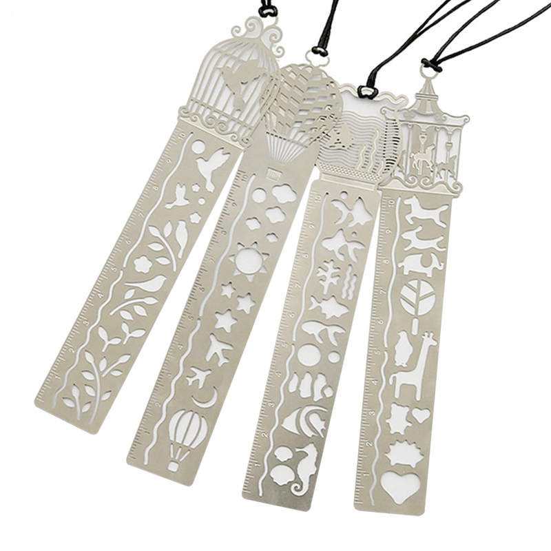 Iron Bookmark Ruler Set Of 4 Hollow Cute Drawing Template Painting Stencil For Art Craft Diy Great Gift For Kids Students