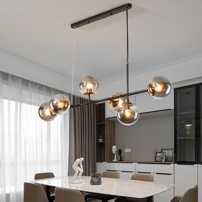 Nordic 6heads Pendant Light Clear Gray Glass Pendant Lamp for Dining Room Magic Bean Hanging Lamp Bedroom Living Room Decoration