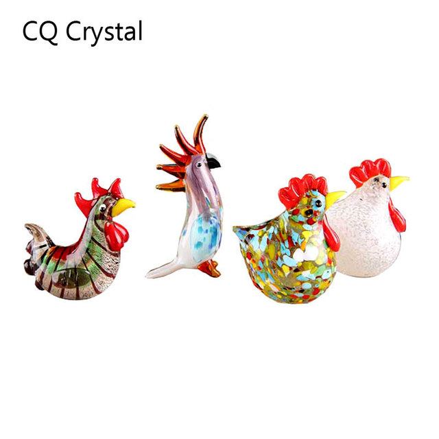 Colorful Crystal Glass Rooster Turkey Animal Figurines Cock Chicken Miniature Hand Blown Modern Miniatures Home Decor Xmas Gift 1