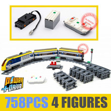 New Motorized RC Train Power Function Up Fit Technic Train with Track City Figures Building Block Bricks Toy Gift Kid Birthday new city series the cargo train set city train fit legoings city technic train car building blocks bricks toy 60198 diy kid gift