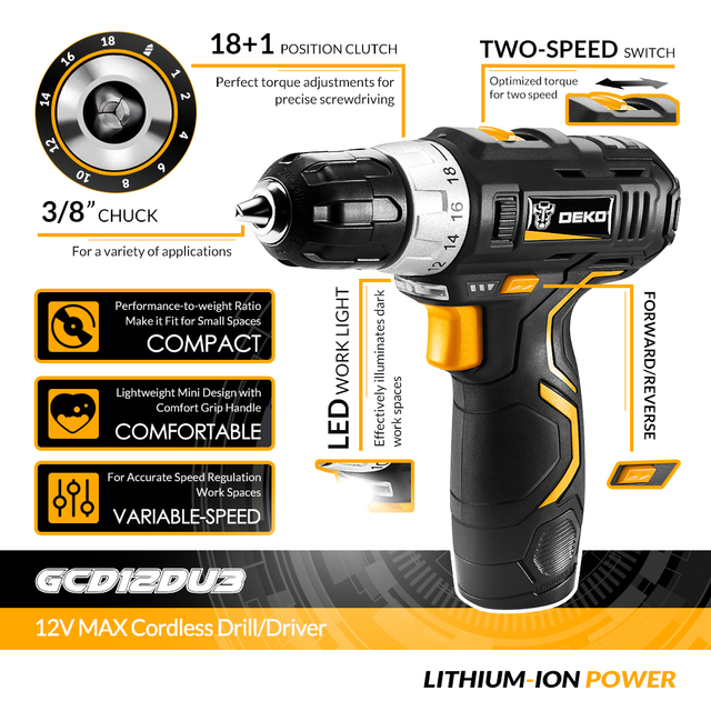 DEKO GCD12DU3 12V Electric Mini Cordless Drill Wireless DC Lithium-Ion Batter 2-Speed 3